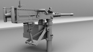 M2 .50 Calibre Browning Maya Mental Ray