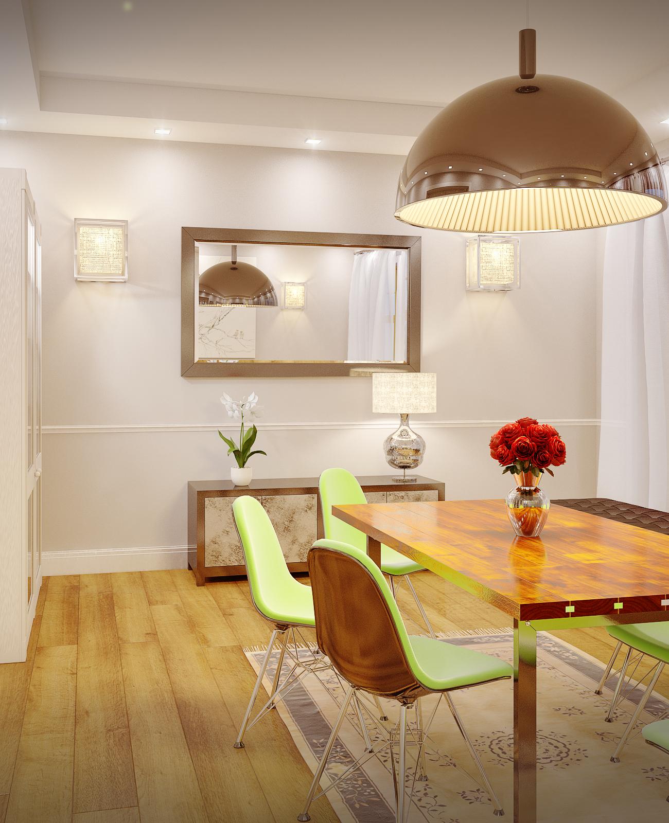Modern dining room, nighttime
