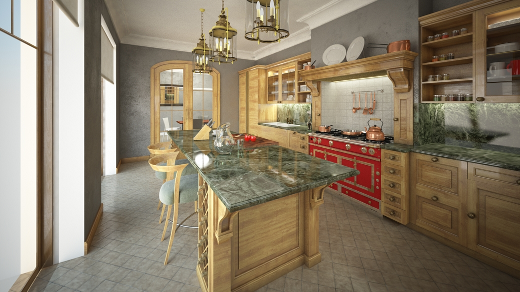 Kitchen reverse view, green marble surface, light wood cabinets